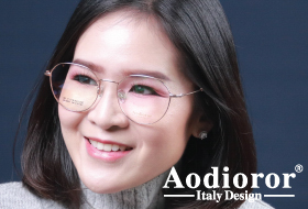 โปรโมชั่นกรอบแว่น Aodioror ไทเทเนียม ไอพี พร้อมเลนส์แว่นตาโปรเกรสซีฟ ISOPTIK New Multi Pro 1.6