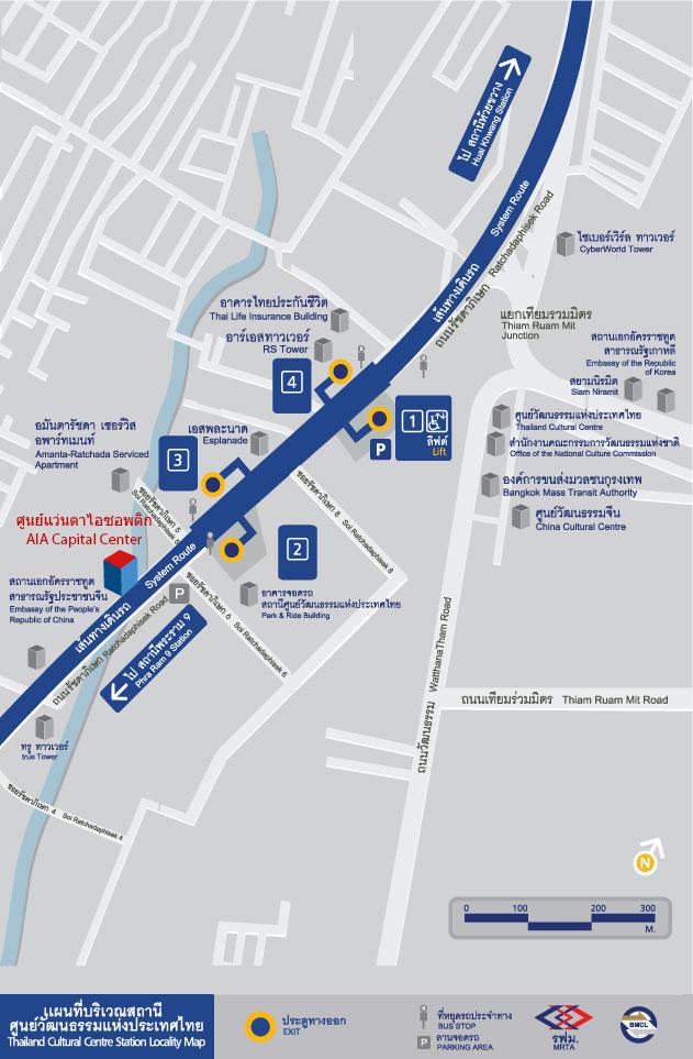 แผนที่ MRT บริเวณสถานีศูนย์วัฒนธรรมแห่งประเทศไทย